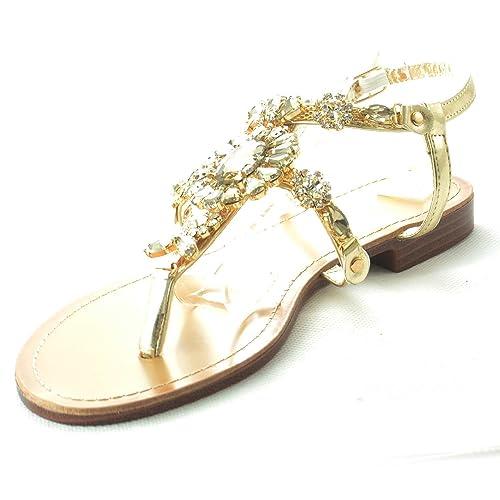 A Sandalo Donna Malu Fascette Gioiello Con Shoes Due Tacco Basso 8wv0mNnO