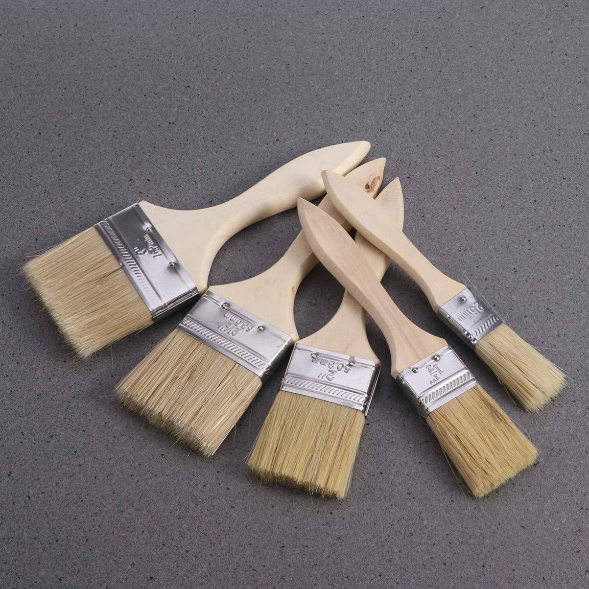 Artibetter Lot de 5 pinceaux muraux avec manche en bois pour peinture de meubles muraux