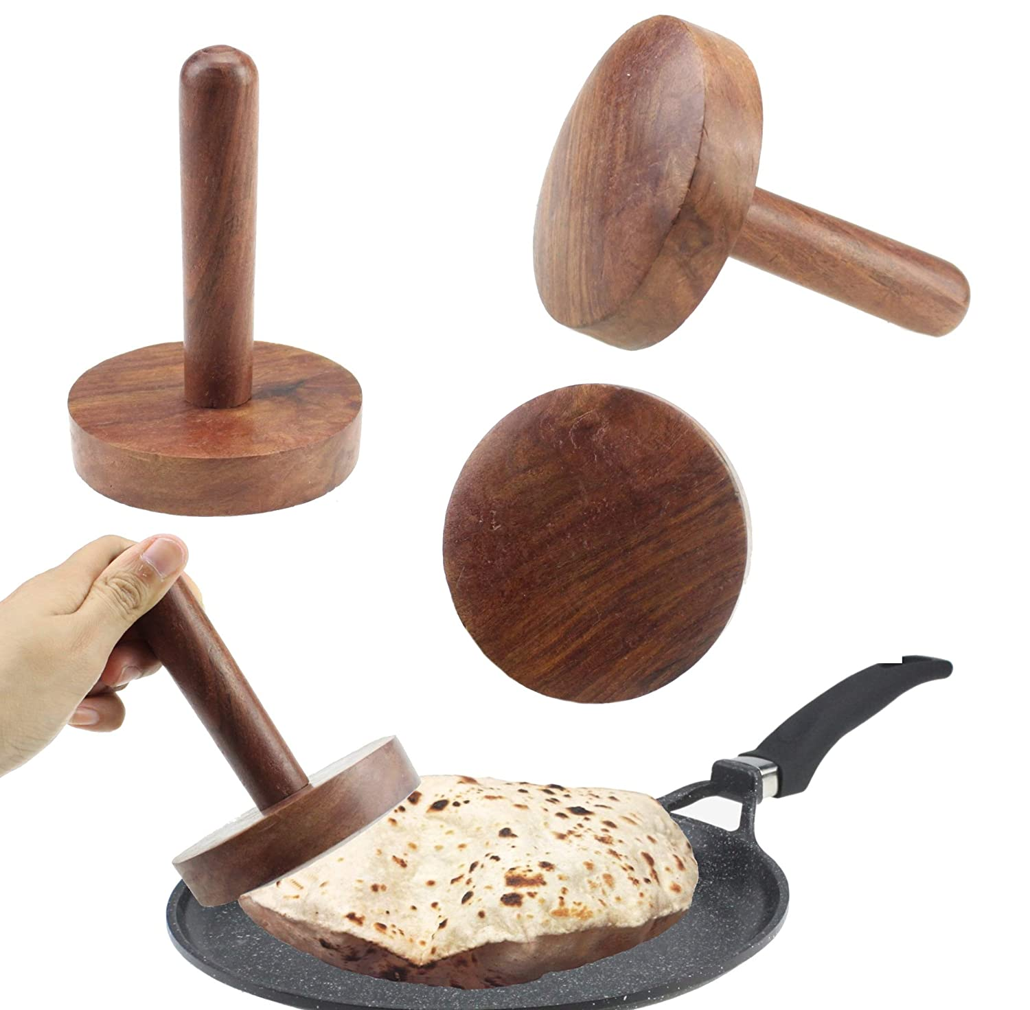 Wooden Chapati Press Roti Fluffer Extra Strong Paratha Indian Datta Press Long Life Solid Wood Dark Brown GK140 GK Global Kitchen