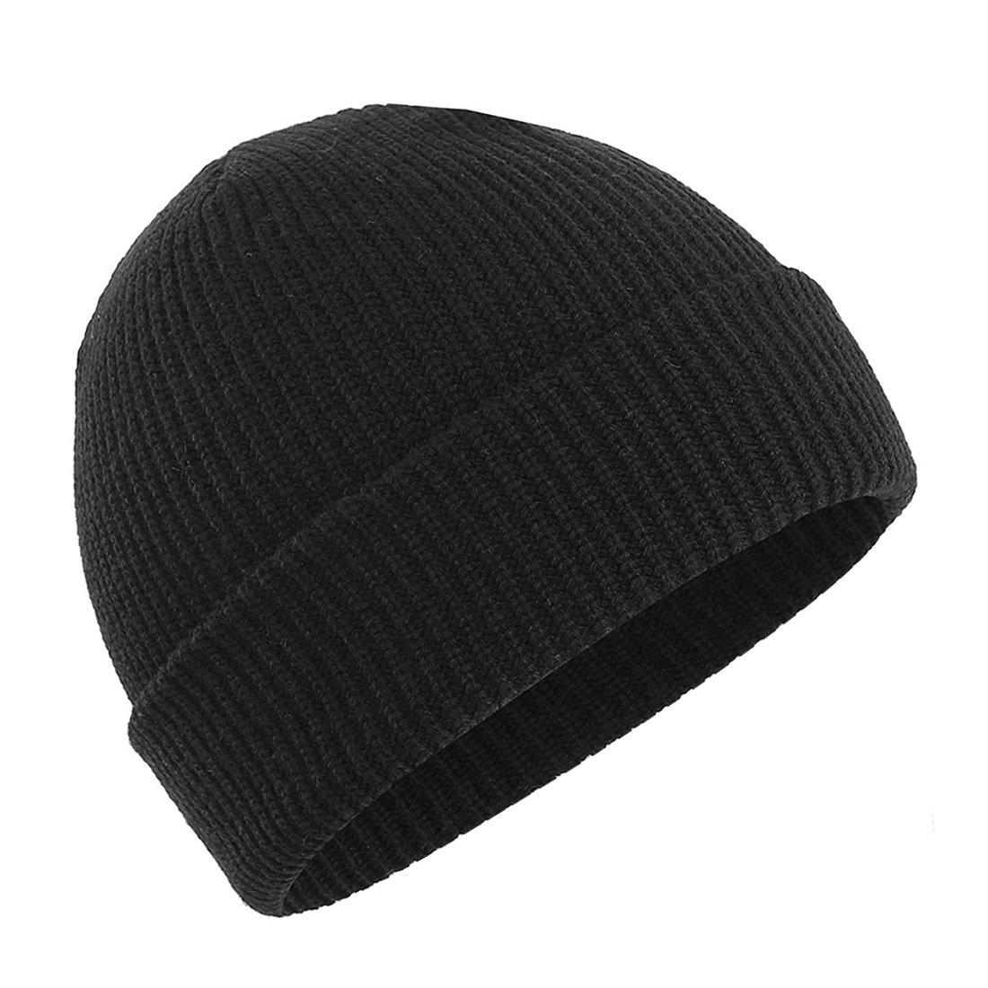 8bd16bcb0ae Amazon.com  Man s or Woman s Winter Warm Knitting Hats Unisex Beanie Cap  Daily Beanie Hat (Black)  Clothing