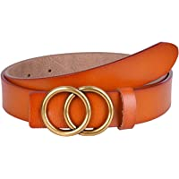 Women's Leather Belts for Dress Jeans Vintage Belts with Double O-Ring Gold Buckle