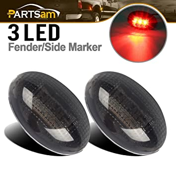Partsam 2X Replacement for Ford F350 F450 F550 99-10 LED Rear/Red Side  Fender Marker Dually Bed Lights Smoke Lens