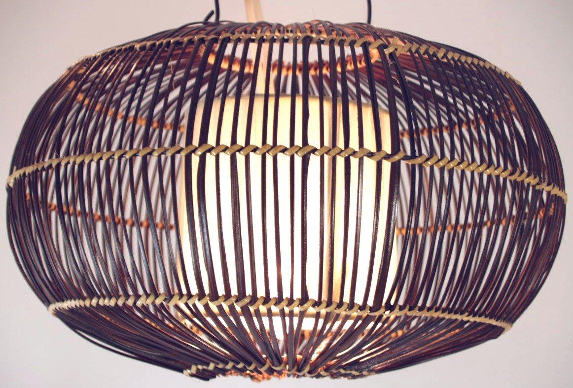 Guru-Shop Deckenlampe Deckenleuchte Cadiz - in Bali Handgemacht aus Naturmaterial, Bambus, Baumwolle, 20x35x35 cm, Dekolampe Stimmungsleuchte