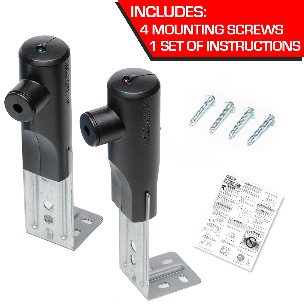 Genie Safe T Beam Garage Door Safety Beams Set Replacement Kit For Wiring As Well Sensor Bypass On Chamberlain Openers Security And Surveillance Products
