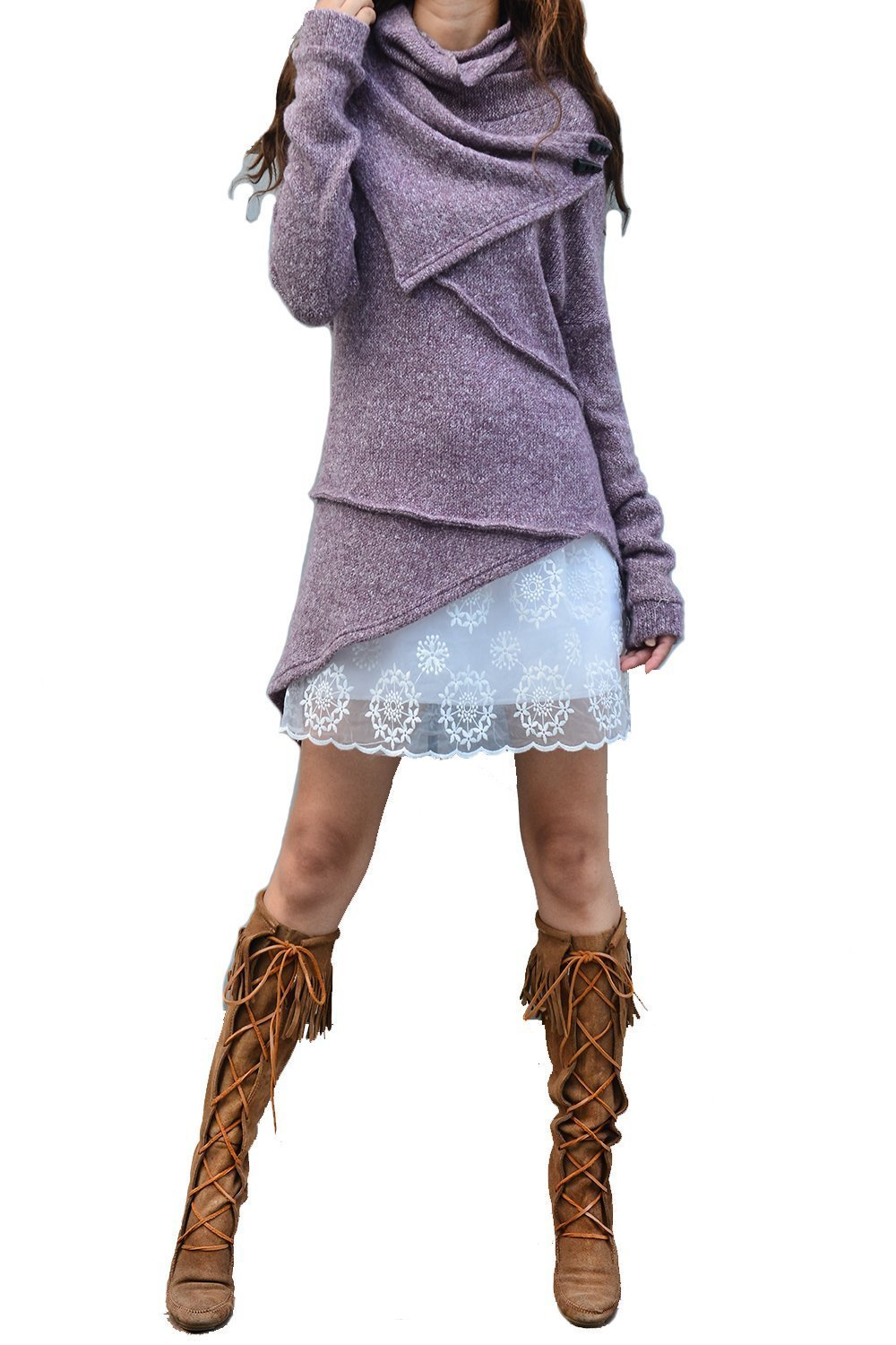 Women's Asymmetrical Knit Sweater Light Purple