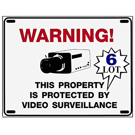 Amazon com: 6 Home Security Alarm System Camera Warning Signs - 8 5