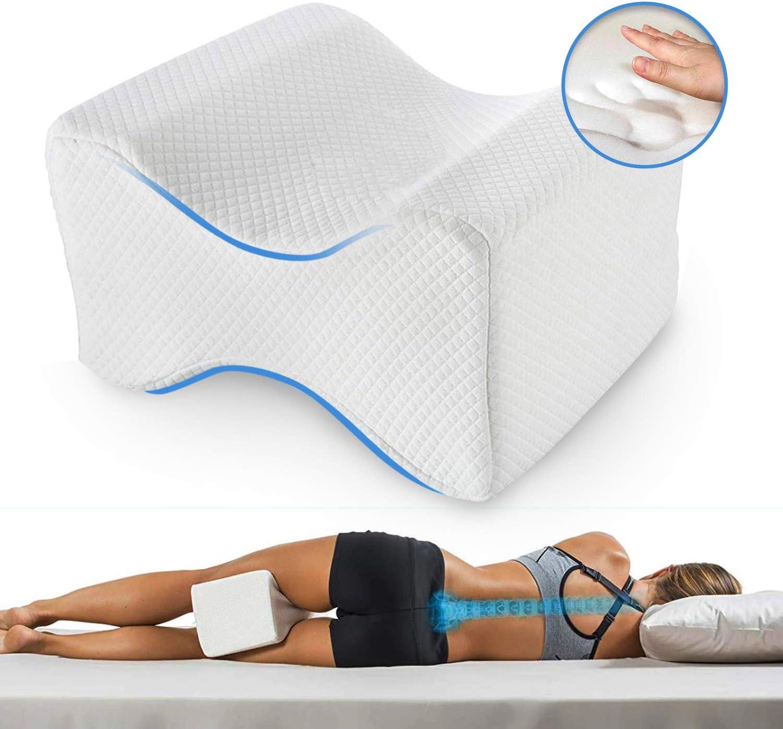 Almohadas piernas para dormir, Cojín ortopédico para almohada con de memoria para durmientes de lado, Almohada de apoyo para la rodilla para ciático Pierna dolor de espalda de cad