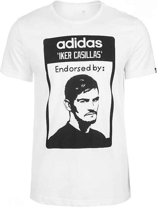 adidas Casillas – Camiseta para hombre, color - blanco/negro ...