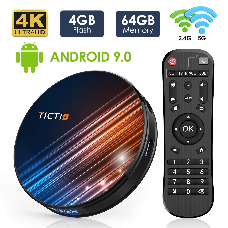 Android 9.0 TV Box 4GB RAM 64GB ROM, TICTID Android TV Box RK3318 Quad-Core 64bit with Dual-WiFi 5G/2.4G, BT 4.0, 4K2K UHD H.265, USB 3.0 Smart TV Box by TICTID