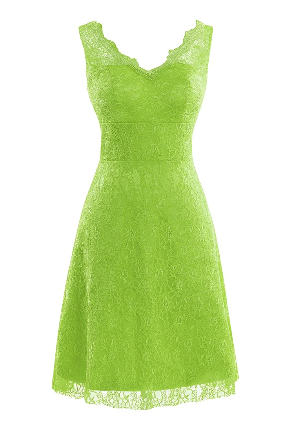 Lime Green Bess Bridal Women's V Neck Lace Knee Length Prom Party Dresses