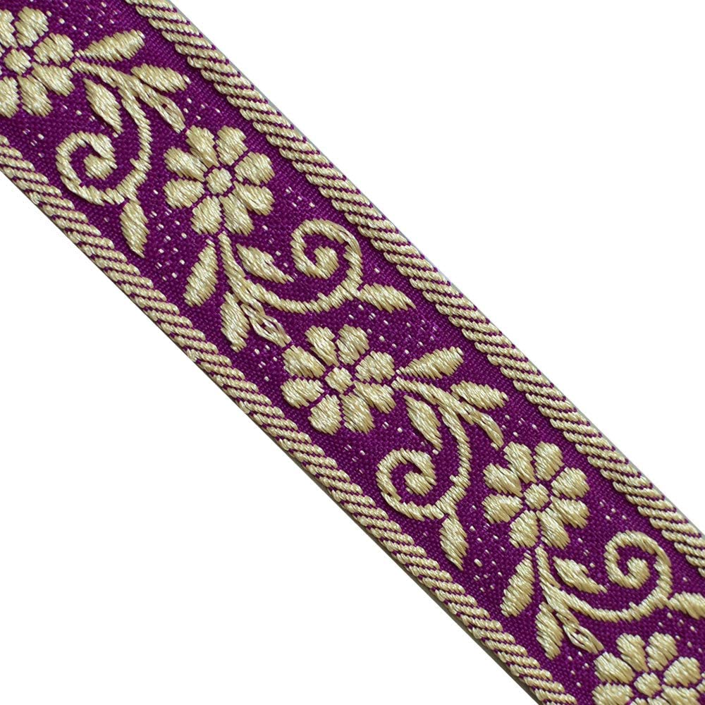 Jacquard Ribbon 3 x 1y Red Purple Turquoise and Yellow Gold  ** G O R G E O U S