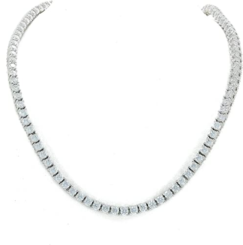 Tennis Necklace Silver Finish Lab Diamonds Iced Out 4mm Choker Chain 22 inches