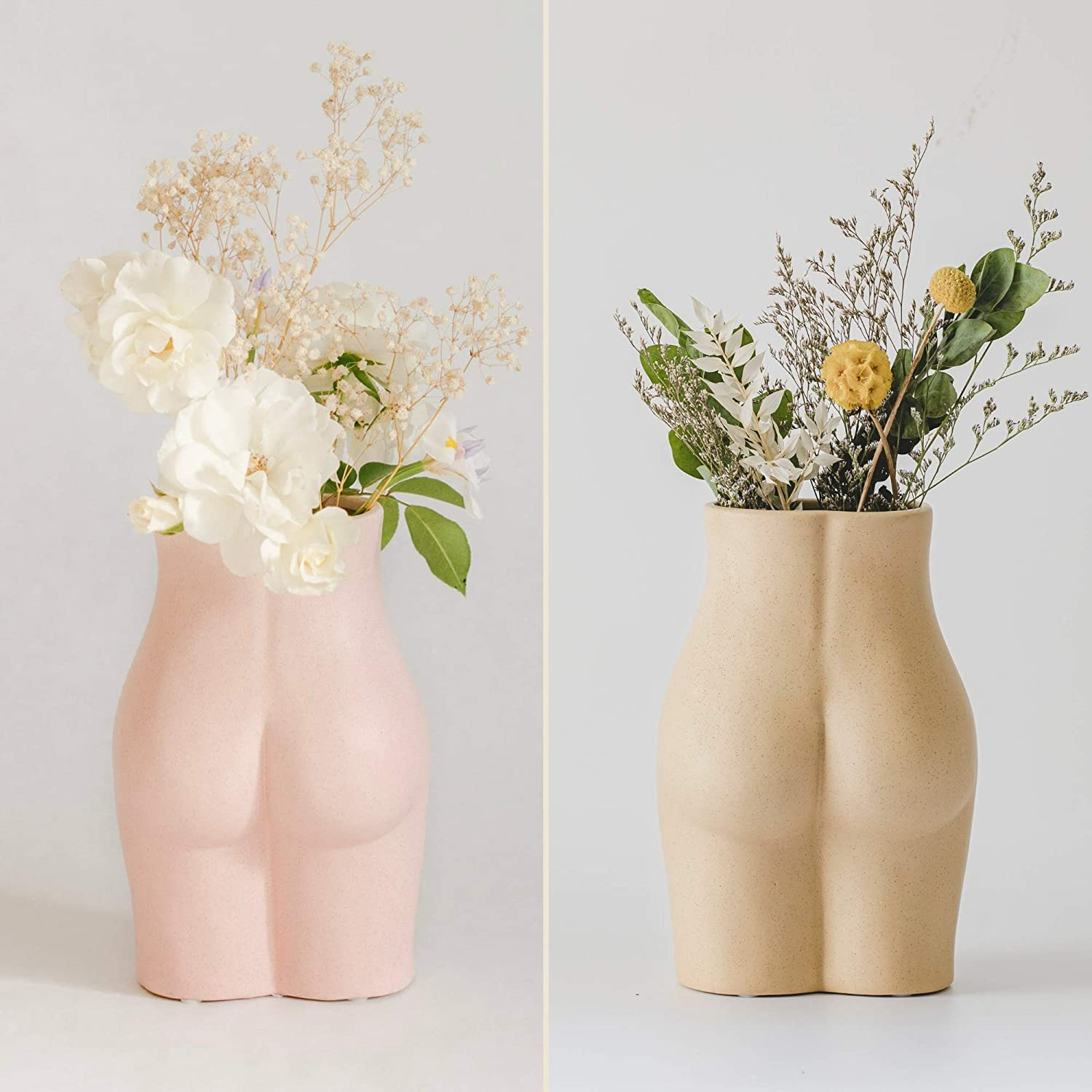 Base Roots Female Form Body Flower Vase, Tall Ceramic Vases for Modern Boho Home Decor, Lady Butt Vase, Indoor Planter Plant Pot, Feminist Decors Cute Chic Accent Pieces