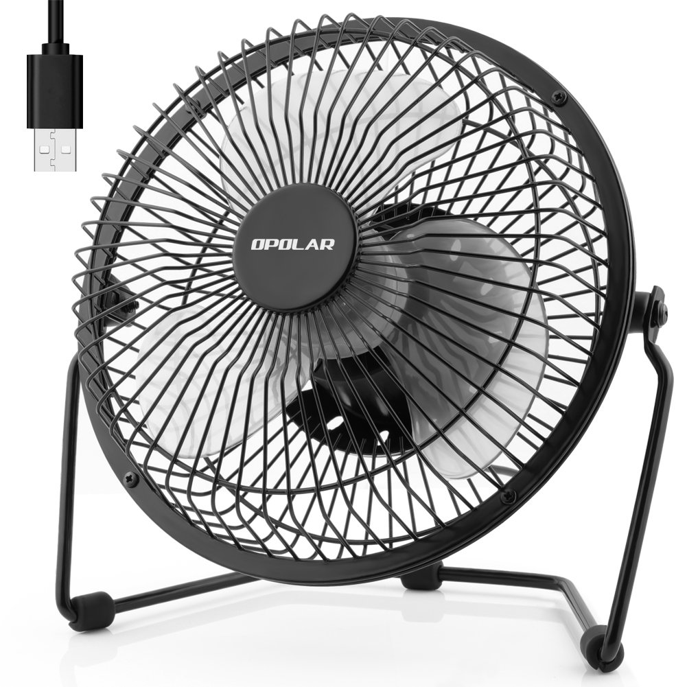 OPOLAR Desk Fan, Quiet Operation Small Personal Fan with Light Cool Breeze, Two Setting, Sturdy Frame Mini Fan Plug in Computer, USB Hub or Electric Outlet, Silent for Office Desk - 6 inch Black