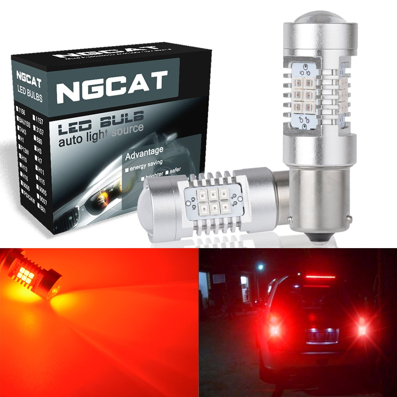 NGCAT Auto LED Bulb 2PCS 1156 BA15S 7056 1141 1073 1095 2835 21 SMD Chipsets LED Bulbs with Lens Projector Brake Turn Signal Tail Backup Reverse Lights, Red 10-16V 10.5W