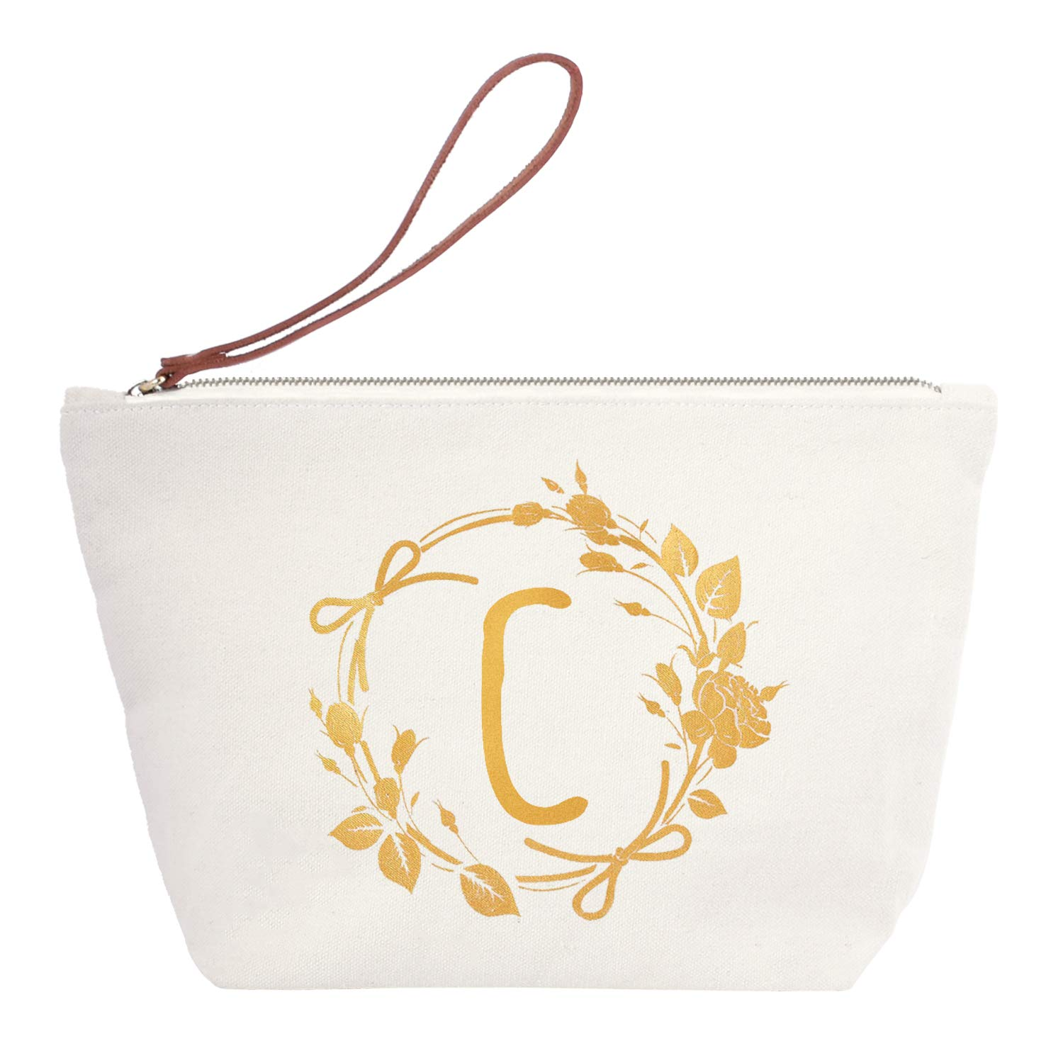 ElegantPark C Initial Monogram Personalized Travel Makeup Cosmetic Bag Wristlet Pouch Gifts with Zipper Canvas
