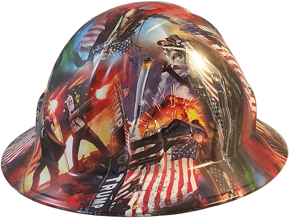 Texas America Safety Company Hydro Dipped Full Brim Style Hard Hat - Trump All Stars