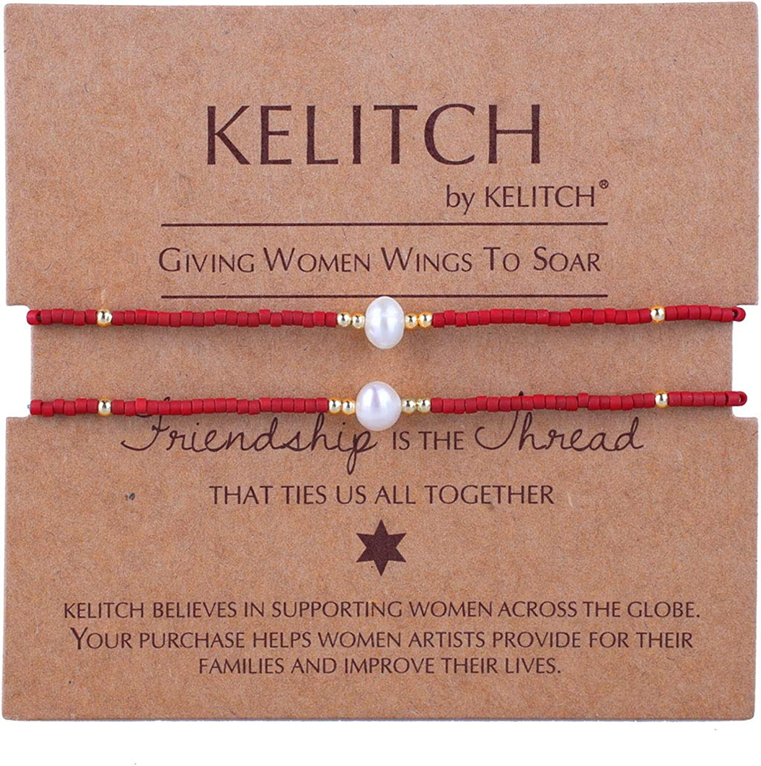 KELITCH 2 Pcs Seed Bead Friendship Bracelets Handmade Shell Pearl Adjustable String Bracelets Fashion Jewelry