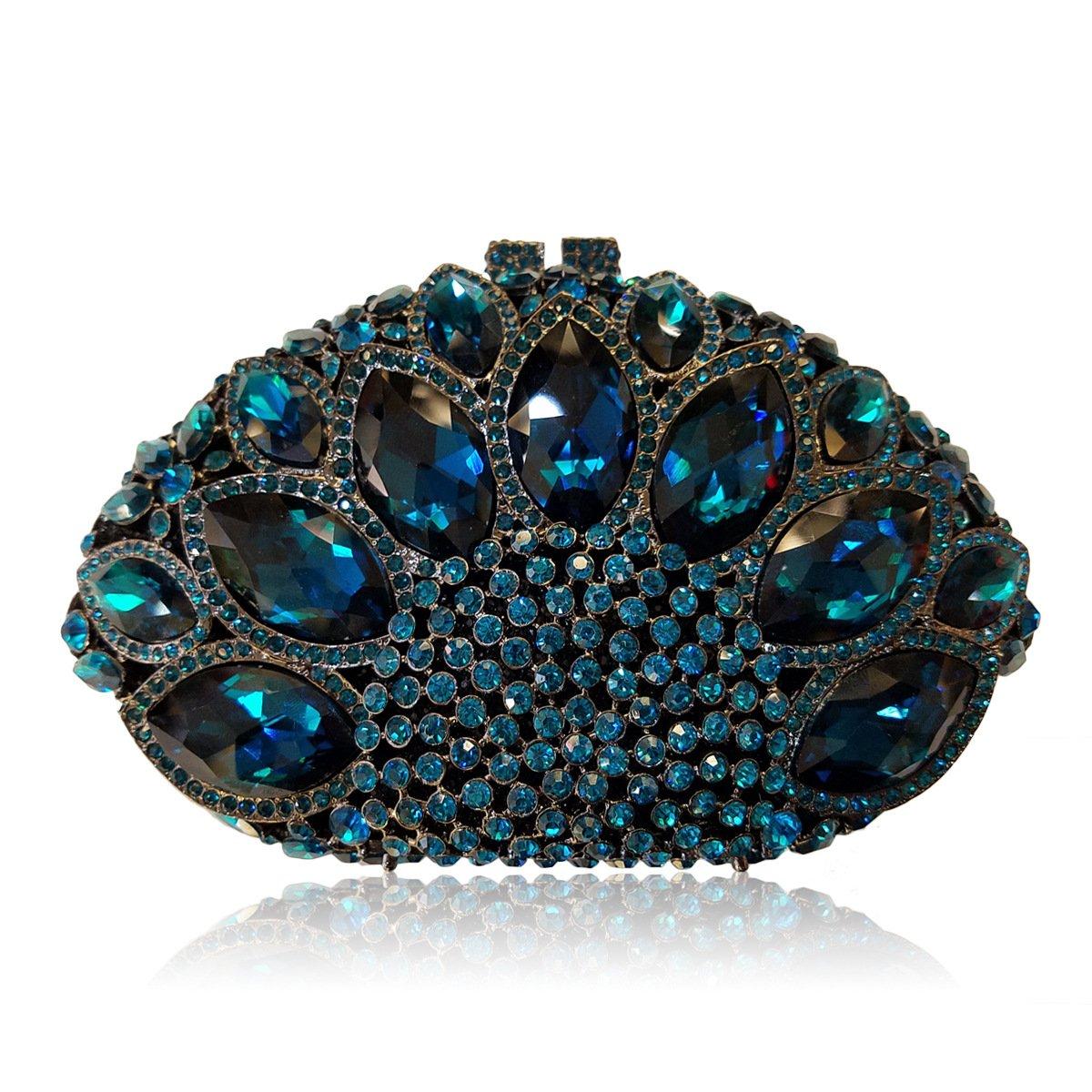 Flada Women Gemstone Handbag Rhinestones Sector Shape Wedding Evening Clutch Purse Blue