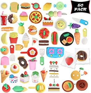 Smart Novelty Food Puzzle Erasers for Kids Party Favors and Classroom Prizes - Food Eraser Assortment - Bulk Pack of 50 Cute Erasers
