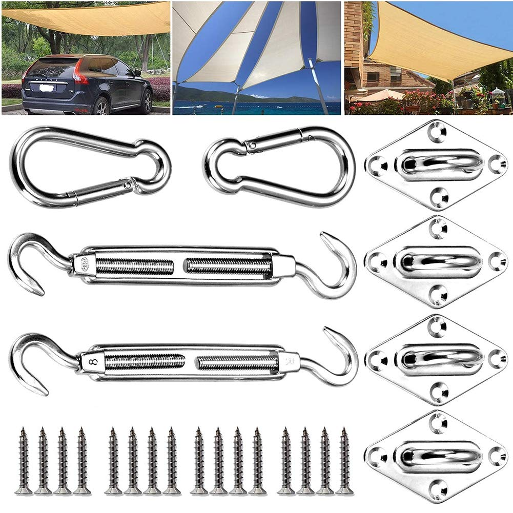 RXRENXIA Stainless Steel Eye Plates Boat,Sun Shade Sail Hardware Kit Heavy Duty Stainless Steel for Square Rectangle Sunshade Fixing Accessories 8mm by RXRENXIA