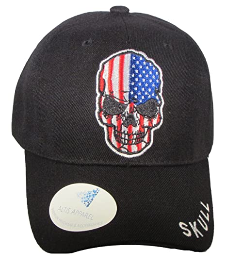 ALTIS APPAREL US Flag Skull Biker Baseball Cap (Black) at Amazon ... 6d7d43e29b0