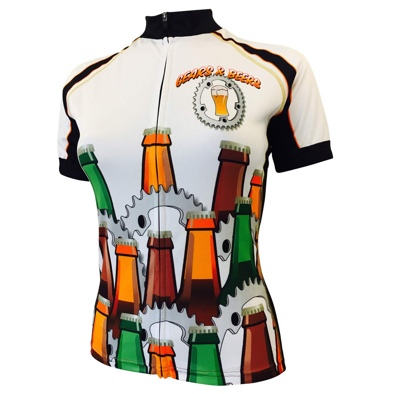 Amazon.com   Gears   Beers Women s Bike Jersey White   Clothing 543667390035