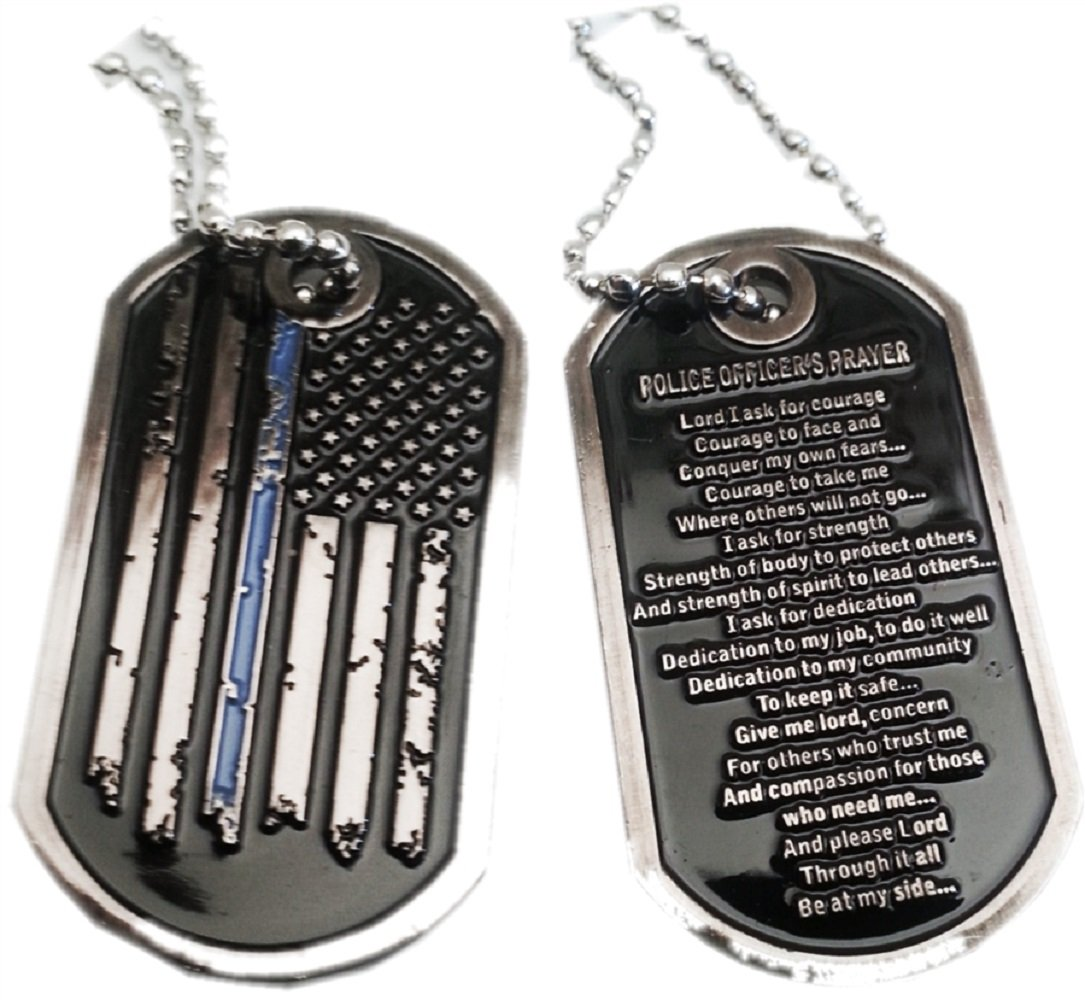 Thin Blue Line Distress Flag Prayer  Law Enforcement Dog Tag by PoliceTees