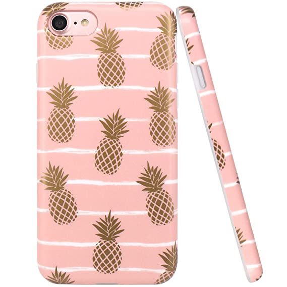 best loved 32f35 61616 iPhone 7 Case, iPhone 8 Case, JAHOLAN Shiny Gold Pineapple Baby Pink Design  Clear Bumper TPU Soft Rubber Silicone Cover Phone Case for Apple iPhone 7  ...
