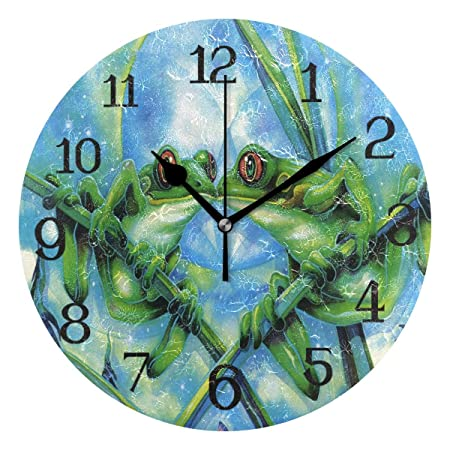 dfegyfr - Reloj de Pared (Funciona con Pilas, diseño de Rana ...