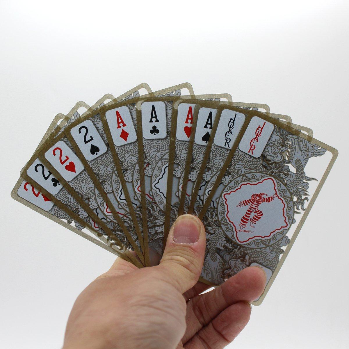 BNENIU Waterproof Transparent Plastic Poker Gold Edge Playing Cards Dragon Pattern BENNIU