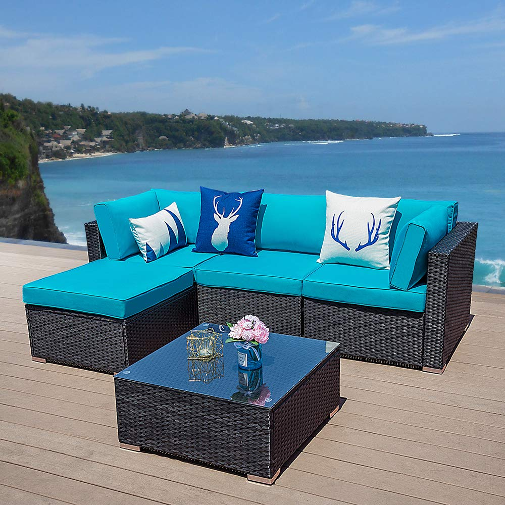 Green4ever 5 PCs Outdoor Furniture Sectional Sofa Set Patio Wicker Sofa, 5 Piece All-Weather PE Rattan Furniture Sets with Blue Cushion, Black by Green4ever