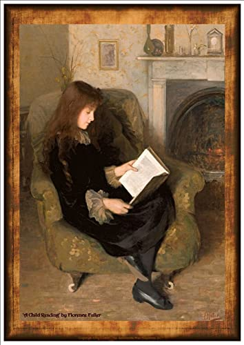 Painting A Child Reading By Florence Fuller A Beautiful A4 Glossy Art Print Taken From a Vintage Childrens Illustration