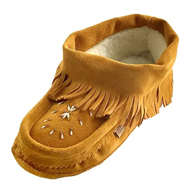c49a60b86 Laurentian Chief Women's Suede Ankle Fringed Soft Sole Beaded Moccasins ...