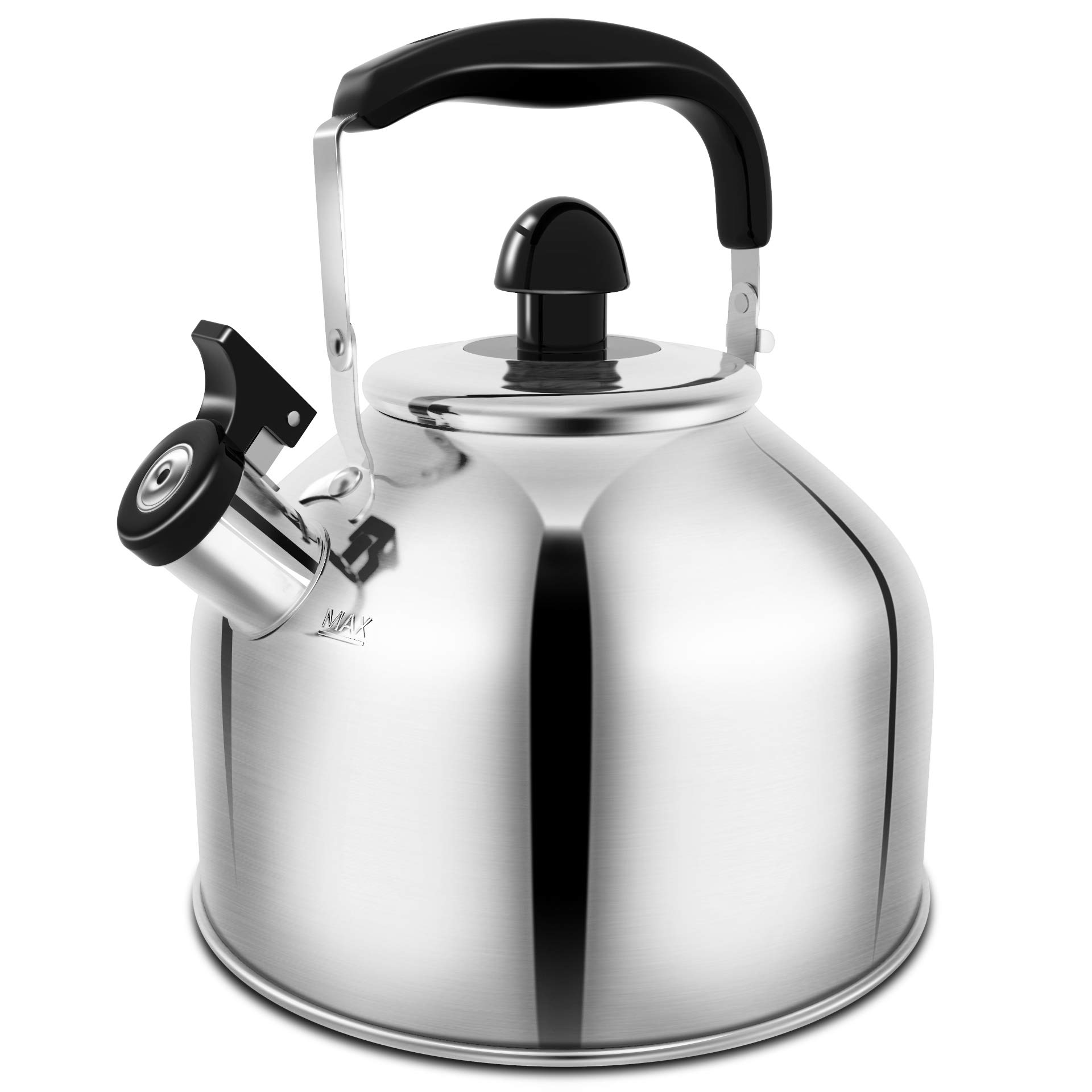 Whistling Tea Kettle Stove TopTeapot, 3.9 Qt Stainless Steel Teakettle with Fast Boiling Base by AMFOCUS