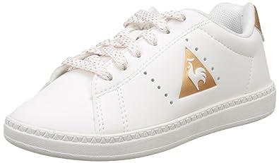 4927557ecccd Le Coq Sportif Courtone GS S Lea/Metallic, Baskets Basses Fille, Blanc (