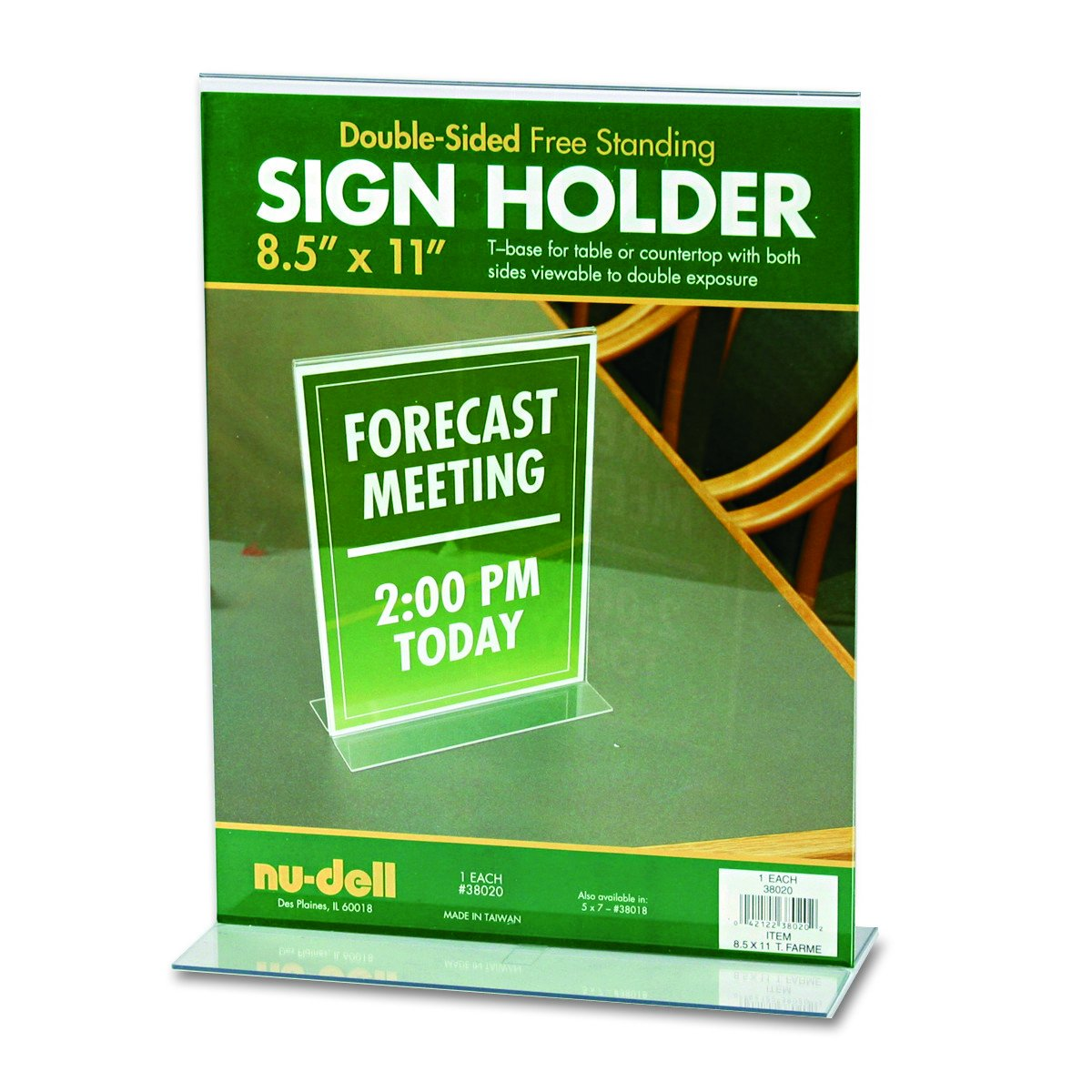 NuDell 4-Inch X 6-Inch Table Top Double Sided T-Base Freestanding Sign Display Frame, Clear 38046Z