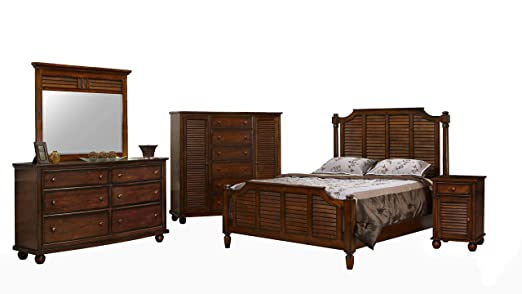 Amazon Com Sunset Trading Bahama Shutter Wood Bedroom Set King Size Bed Configurable Armoire Dresser Mirror Nightstand Tropical Walnut Industrial Scientific
