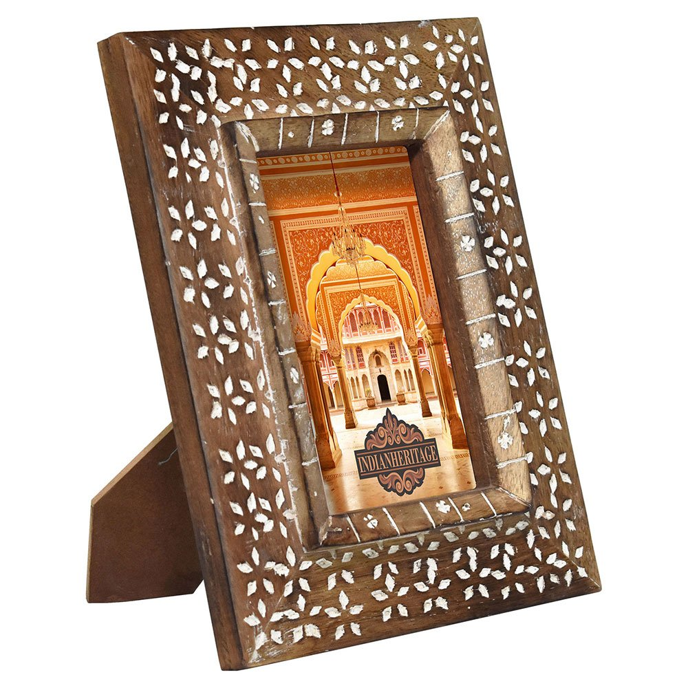 Indian Heritage Wooden Photo Frame 6x4 Carved Dark Wood Design with White Wash Finish