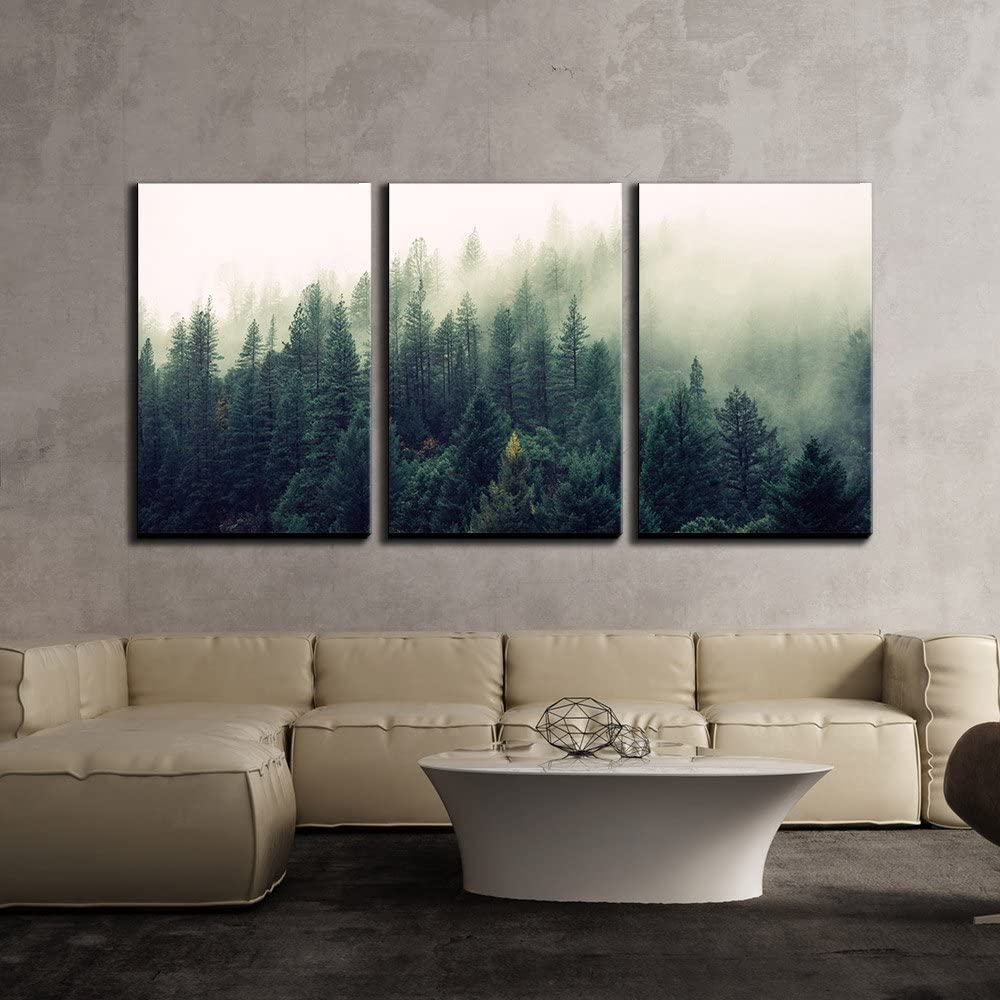 "wall26 - 3 Piece Canvas Wall Art - Landscape with Trees in Mist - Modern Home Art Stretched and Framed Ready to Hang - 24""x36""x3 Panels"