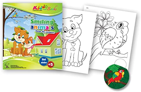 QuackDuck Colouring Book Smiling Animals - Colour by stickers ...