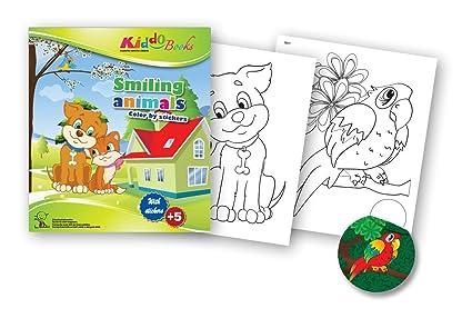quac kduck libro para colorear Smiling Animals – Color by Stickers – Feliz animales – Pintar