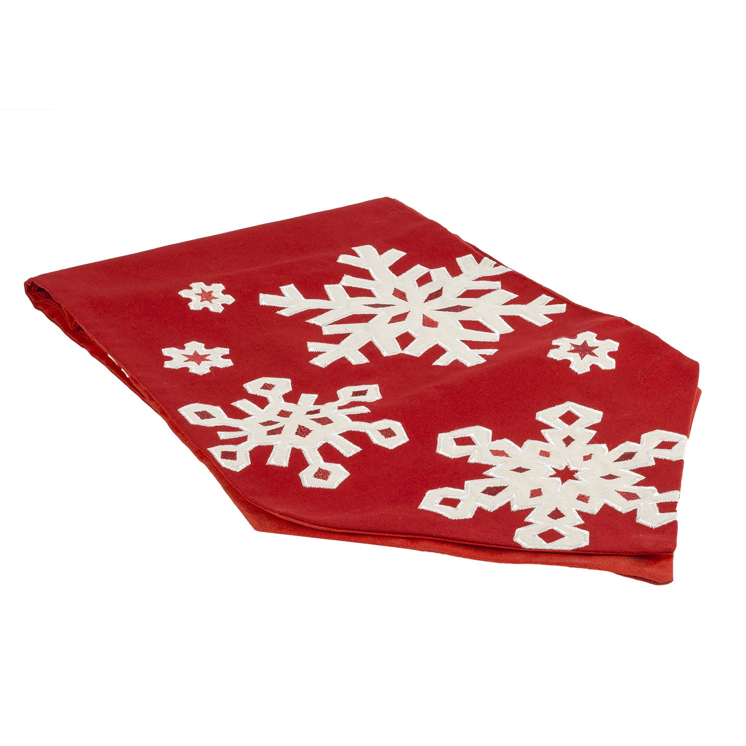 White Appliqued Snowflakes on a Red Christmas Table Runner | ChristmasTablescapeDecor.com