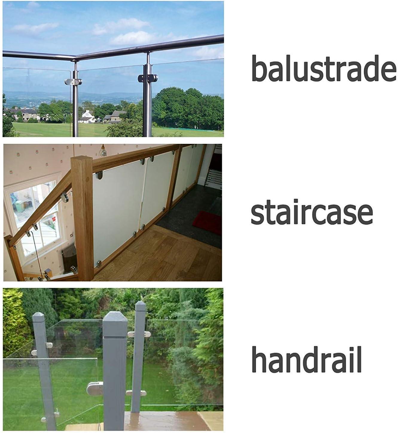 Dos plat Support en verre rampe rampe Support en verre en acier inoxydable 304 Pour escalier Support r/églable