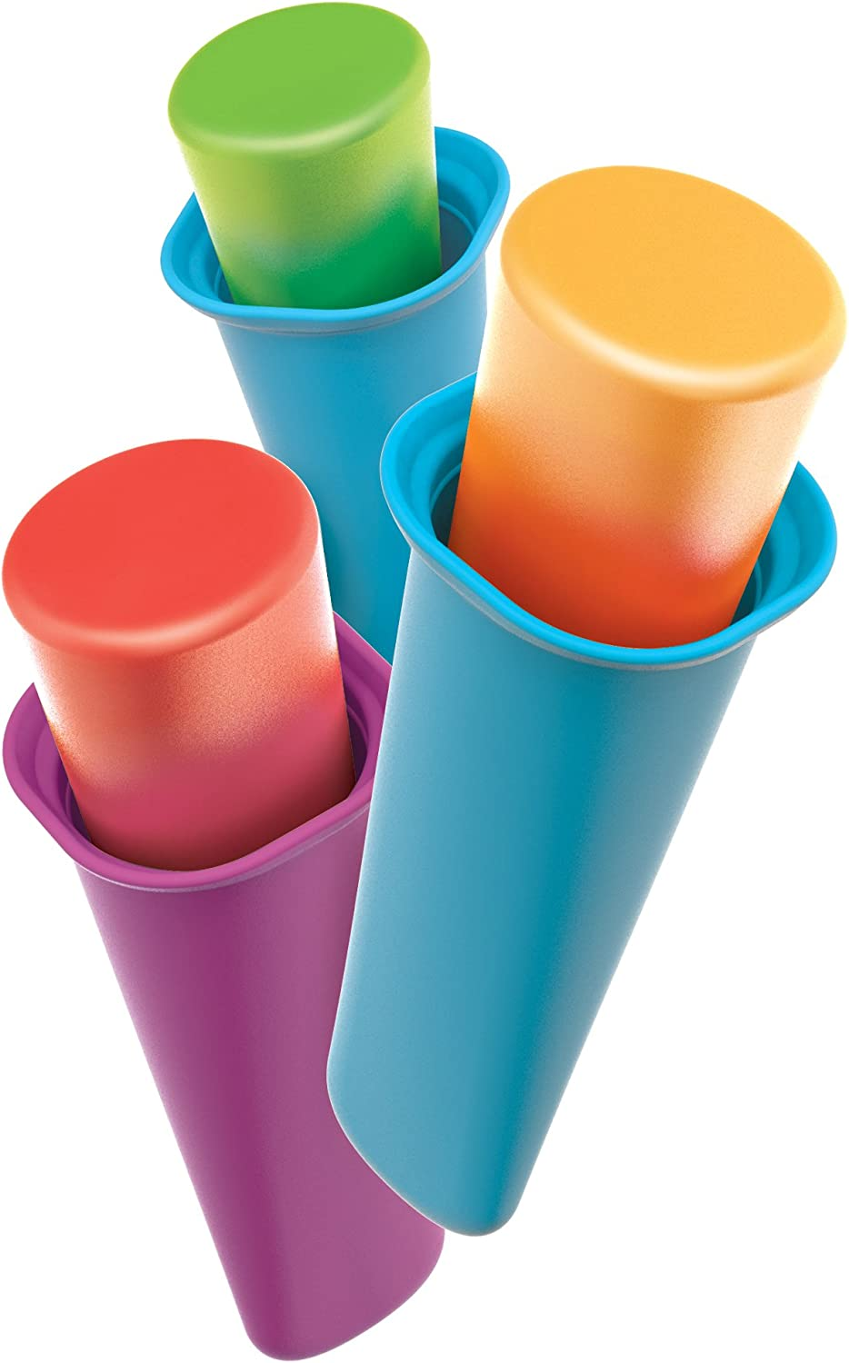 Zoku Summer Pops, 6 Squeezable Silicone Molds with Reusable Spill-resistant Lids and Tray, BPA-free