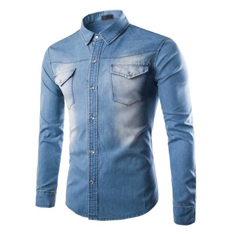 Zcaosma 2018 Spring Blue//Black Denim Shirt Men Long Sleeve Vintage Slim Fit