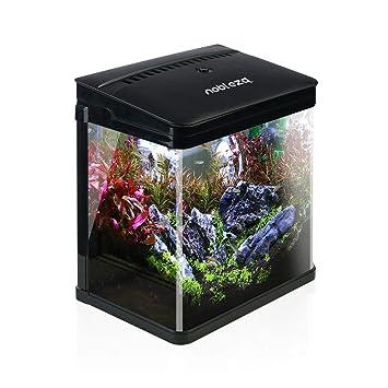 Nobleza - Acuario de Cristal con Cubierta y Luces LED. Sistema de Filtro de 7 litros. Color Negro: Amazon.es: Productos para mascotas