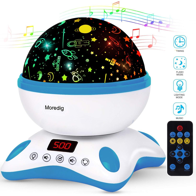 Moredig Proyector Estrellas Bebé, Lámpara Proyector Infantil Luz Nocturna con Rotación y Música, Función de Temporización y Control Remoto, 8 Modos ...