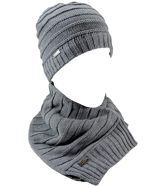 Cappello Invernale Uomo LAURA BIAGIOTTI + Sciarpa abbinata Completo Inverno  2pz Grigio chiaro interno in Pile  Amazon.it  Abbigliamento bc1da3500026