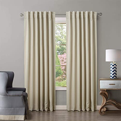 ChadMade Back Tab/Rod Pocket Beige 52Wx120L Inch Set of 2 Panels Solid Thermal Insulated Blackout Curtain Drape